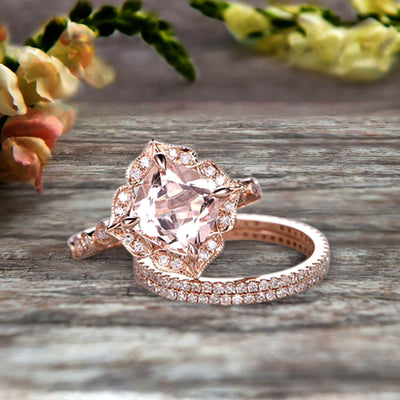 Trio Set 10k Rose Gold 2 Carat Morganite Wedding Set Engagement Ring Antique Stacking Matching Band Art Deco