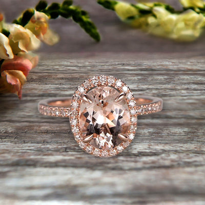 10k Rose Gold 1.50 Carat Morganite Halo Engagement Ring Oval Cut Anniversary Ring Art Deco