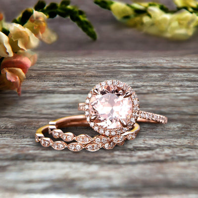 14k Rose Gold 2 Carat Round Cut Morganite Trio Set Engagement Ring Halo Stacking Matching Band