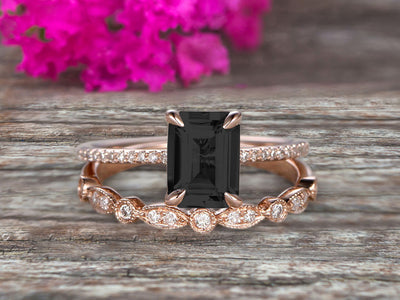 1.50 Carat Emerald Cut Art Deco Black Diamond Moissanite 10k Rose Gold Wedding Set Engagement Ring Anniversar Ring Surprisingly