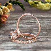 1.50 Carat Emerald Cut Art Deco Morganite 10k Rose Gold Wedding Set Engagement Ring Anniversar Ring Surprisingly