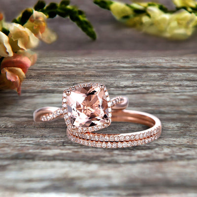 Trio Set 2 Carat Cushion Cut Morganite 10k Rose Gold Wedding Set Bridal Ring Infinity Stacking Matching Band Art Deco