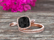 Trio Set 2 Carat Cushion Cut Black Diamond Moissanite 10k Rose Gold Wedding Set Bridal Ring Infinity Stacking Matching Band Art Deco