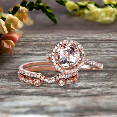 Milgrain Trio Set 2.25 Carat Morganite 10k Rose Gold Wedding Set Round Cut Antique Art Deco Stacking Matching Band Anniversary gift Glaring