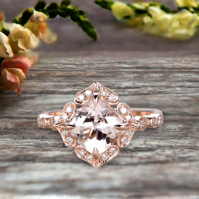 Milgrain Cushion Cut Morganite Engagement Ring 1.25 Carat Glaring Wedding Ring 10k Rose Gold Floral Art Deco