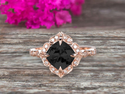 Milgrain Cushion Cut Black Diamond Moissanite Engagement Ring 1.25 Carat Glaring Wedding Ring 10k Rose Gold Floral Art Deco