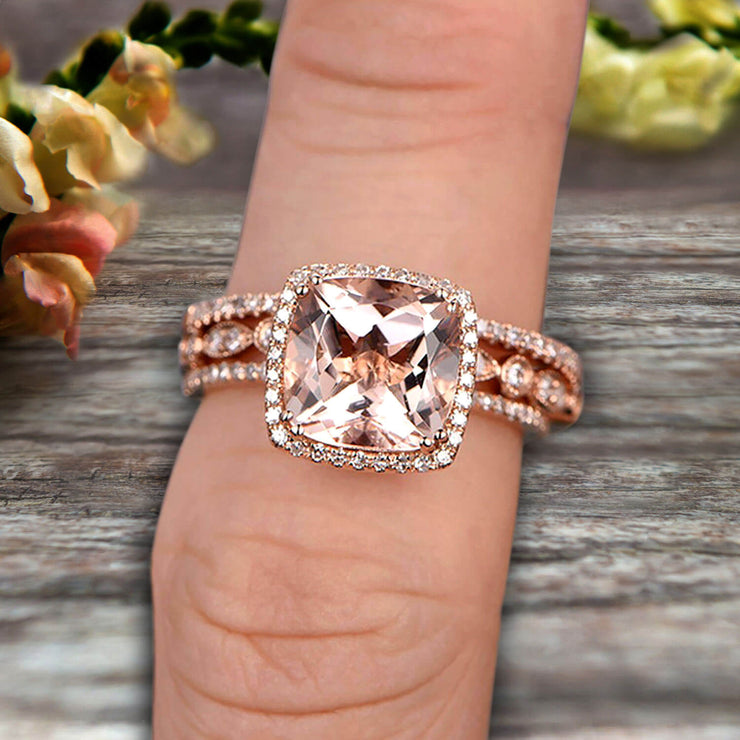 Art Deco 2 Carat Cushion Cut Morganite Wedding Ring Set On 10k Rose Gold Engagement Ring  Matching Wedding Band Imaginative Gift