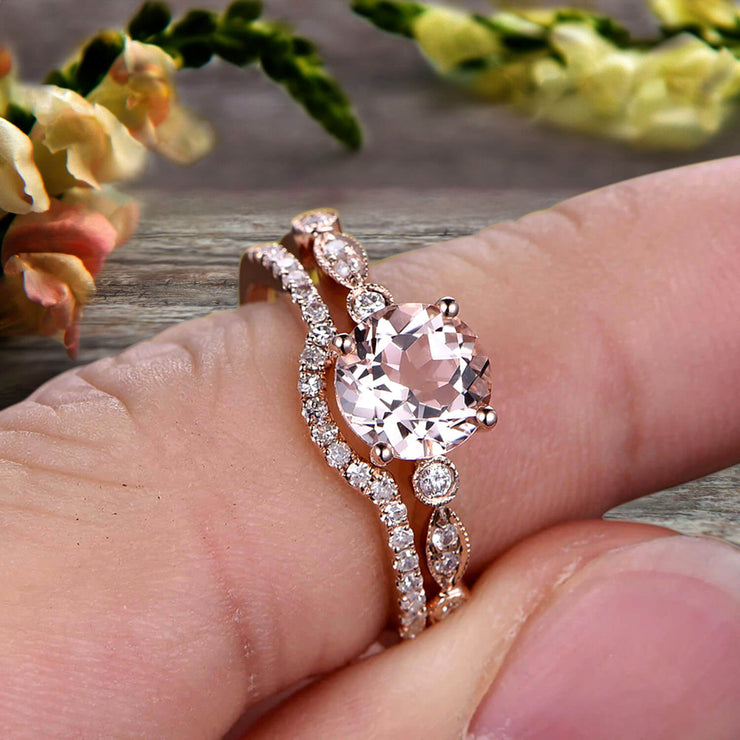 1.50 Carat Morganite Rose Gold Wedding Set Bridal Ring Art Deco Halo Stacking Matching Band Round Cut Gemstone Astonishing Looking Anniversary Gift