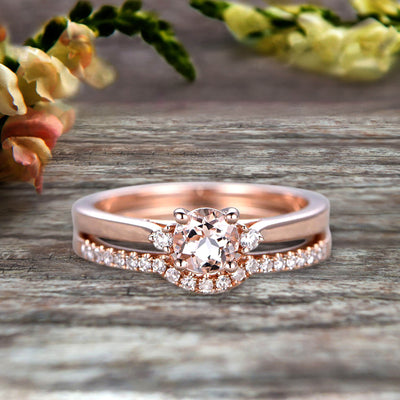 Startling 1.50 Carat Morganite Round Cut  10k Rose Gold Engagement Ring Anniversary Gift Wedding Set Curved Eternity Ring