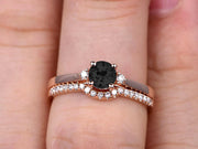 Startling 1.50 Carat Black Diamond Moissanite Round Cut  10k Rose Gold Engagement Ring Anniversary Gift Wedding Set Curved Eternity Ring