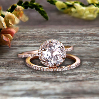 1.75 Carat Round Morganite Bridal Set 10k Rose Gold Engagement Ring Halo Stacking Matching Band Promise Ring Anniversary Ring Surprisingly Ring