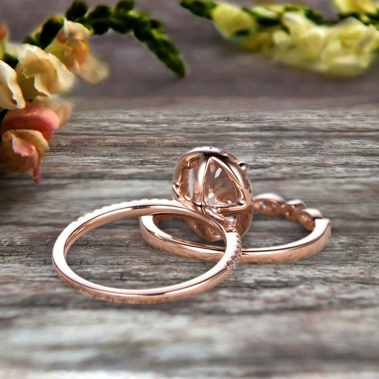 Milgrain 1.75 Carat Oval Cut Morganite Wedding Set Bridal Ring On 10k Rose Gold Halo Art Deco Stacking Matching Band Glaring Shining Startling Staggering