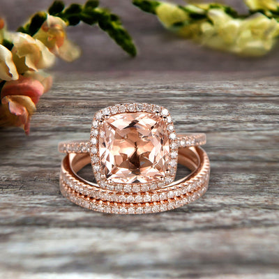 Trio Set 2 Carat Cushion Cut Morganite Wedding Set Engagement Ring Bridal Ring Anniversary Ring On 10k Rose Gold Halo Glaring Staggering