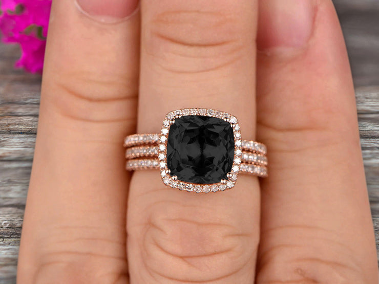 Trio Set 2 Carat Cushion Cut Black Diamond Moissanite Wedding Set Engagement Ring Bridal Ring Anniversary Ring On 10k Rose Gold Halo Glaring Staggering
