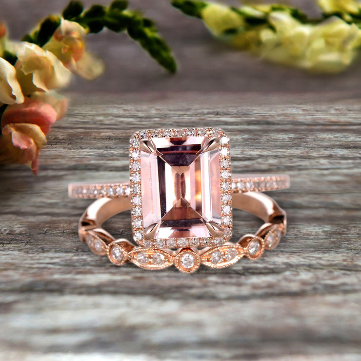 1.75 Carat Emerald Cut Morganite Engagement Ring Set Bridal Ring 10k Rose Gold Art Deco Halo Stacking Matching Band Shining Startling Ring Gift