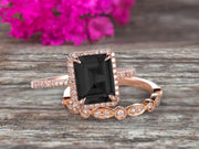 1.75 Carat Emerald Cut Black Diamond Moissanite Engagement Ring Set Bridal Ring 10k Rose Gold Art Deco Halo Stacking Matching Band Shining Startling Ring Gift