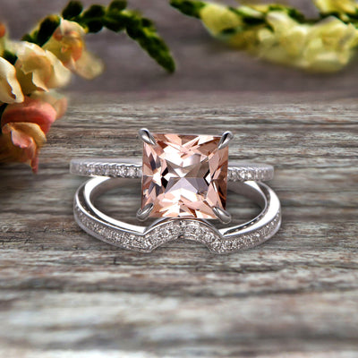 1.50 Carat Princess Cut Morganite Wedding Set Engagement Bridal Ring Set On 10k White Gold Plain Edge Curved Matching Band Art Deco Glaring Staggering Ring