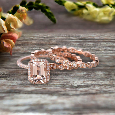 Milgrain Trio Set Emerald Cut Morganite Wedding Set Engagement Ring Anniversary Ring 14k Rose Gold Art Deco Shining Startling Ring