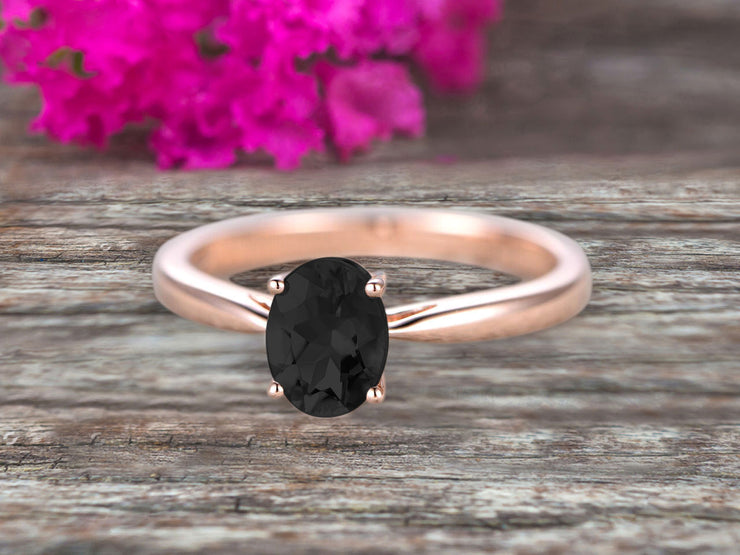 1 Carat Oval Cut Black Diamond Moissanite Solitaire Engagement Ring On 10k Rose Gold Art Deco Shining Startling Ring Anniversary Gift