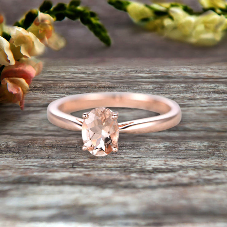 1 Carat Oval Cut Morganite Solitaire Engagement Ring On 10k Rose Gold Art Deco Shining Startling Ring Anniversary Gift