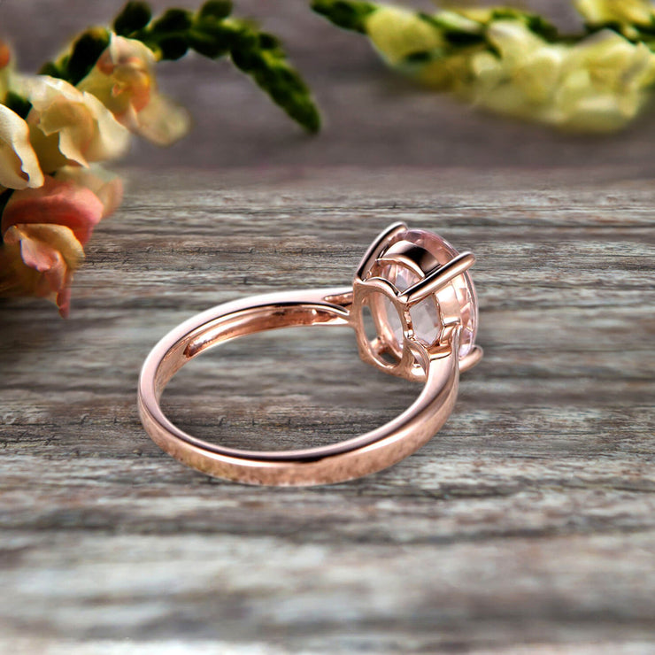 2 Carat Oval Cut Morganite Solitaire Engagement Ring On 10k Rose Gold Art Deco Shining Startling Ring Anniversary Gift