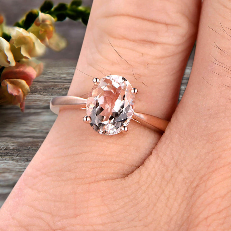 3 Carat Oval Cut Morganite Solitaire Engagement Ring On 10k Rose Gold Art Deco Shining Startling Ring Anniversary Gift