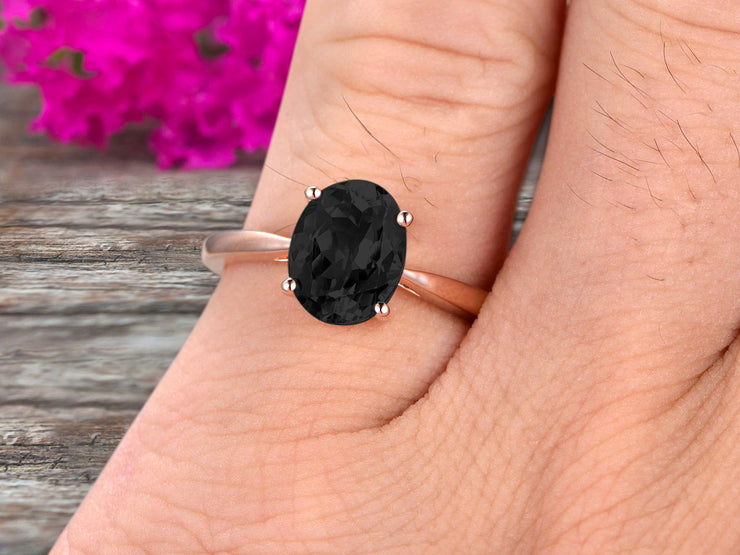3 Carat Oval Cut Black Diamond Moissanite Solitaire Engagement Ring On 10k Rose Gold Art Deco Shining Startling Ring Anniversary Gift