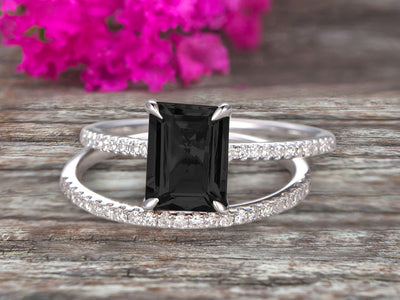 1.50 Carat Surprisingly Black Diamond Moissanite Engagement Ring On 10k White Gold Bridal Set Emerald Cut Thin Pave Stacking Band Art Deco