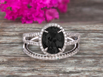 1.75 Carat Black Diamond Moissanite Engagement Ring On 10k White Gold Halo Design Bridal Ring Set Oval Cut Gemstone Thin Pave Stacking Band Split Shank Surprisingly
