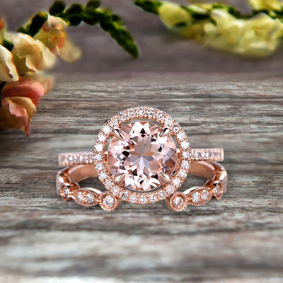 2 Carat Round Cut Morganite 10k Rose Gold Wedding Set Half Eternity Ring Art Deco Stacking Band Engagement Ring Anniversary Gift Halo Milgrain