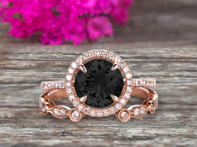 2 Carat Round Cut Black Diamond Moissanite 10k Rose Gold Wedding Set Half Eternity Ring Art Deco Stacking Band Engagement Ring Anniversary Gift Halo Milgrain