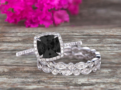 Milgrain Halo Art Deco 2 Carat Cushion Cut Black Diamond Moissanite Wedding Ring Set On 10k White Gold With Two Matching Band Anniversary Ring
