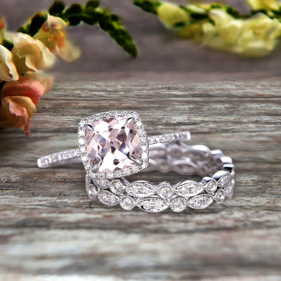 Milgrain Halo Art Deco 2 Carat Cushion Cut Morganite Wedding Ring Set On 10k White Gold With Two Matching Band Anniversary Ring