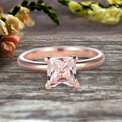 Startling Morganite Solitaire Engagement Ring On 10k Rose Gold 1 Carat Cushion Cut Heart Prong Promise Band Anniversary Gift