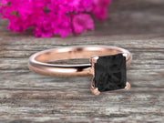 Startling Black Diamond Moissanite Solitaire Engagement Ring On 10k Rose Gold 1 Carat Cushion Cut Heart Prong Promise Band Anniversary Gift