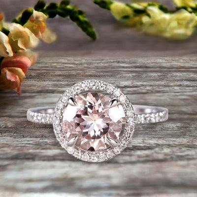 Surprisingly 1.75 Carat Morganite Engagement Ring On 10k White Gold Anniversary Ring With Float Halo Claw Prongs Promise Ring Round Cut Gemstone