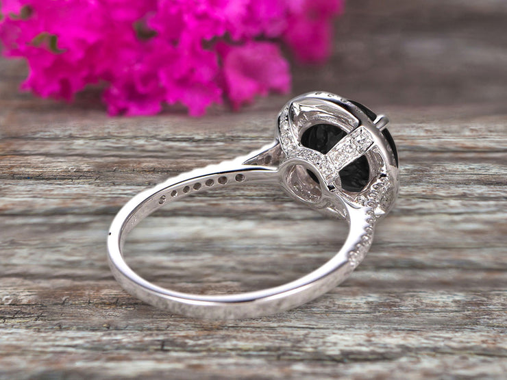 Surprisingly 1.75 Carat Black Diamond Moissanite Engagement Ring On 10k White Gold Anniversary Ring With Float Halo Claw Prongs Promise Ring Round Cut Gemstone