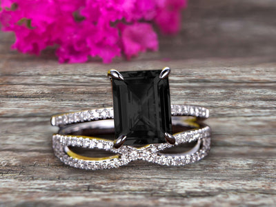 Art Deco 1.75 Carat Emerald Cut Black Diamond Moissanite Wedding Set 10k White Gold Bridal Ring Loop Infinity Stacking Matching Band