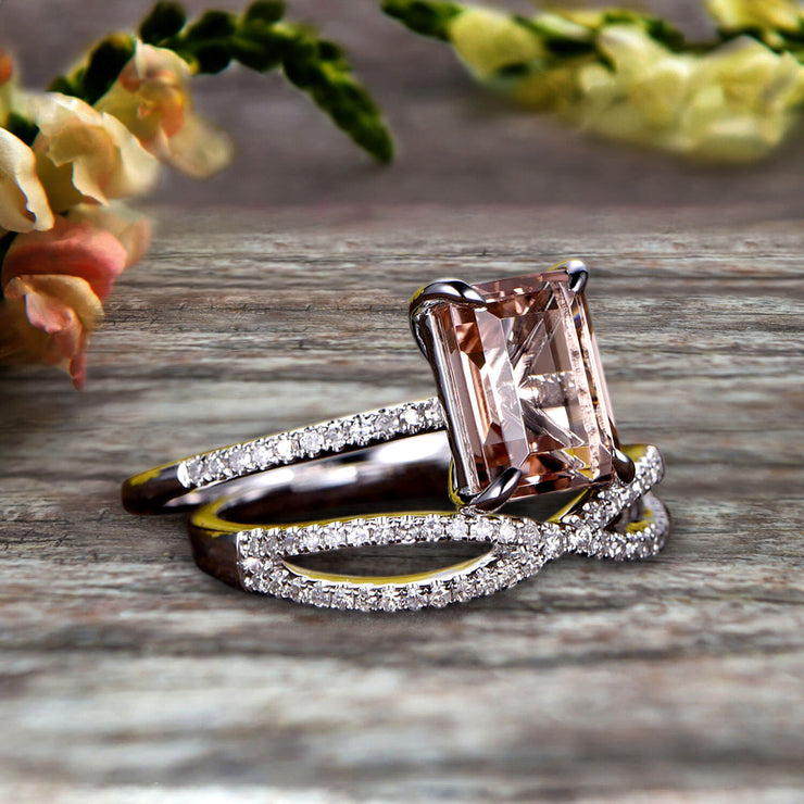 Art Deco 1.75 Carat Emerald Cut Morganite Wedding Set 10k White Gold Bridal Ring Loop Infinity Stacking Matching Band