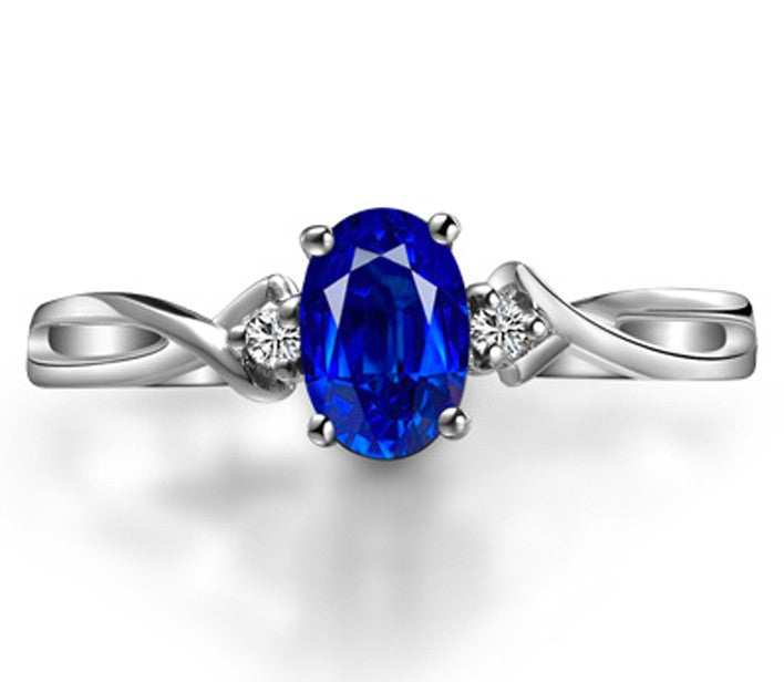 Perfect 1 Carat Oval Blue Sapphire and Moissanite Diamond Trilogy Engagement Ring in White Gold