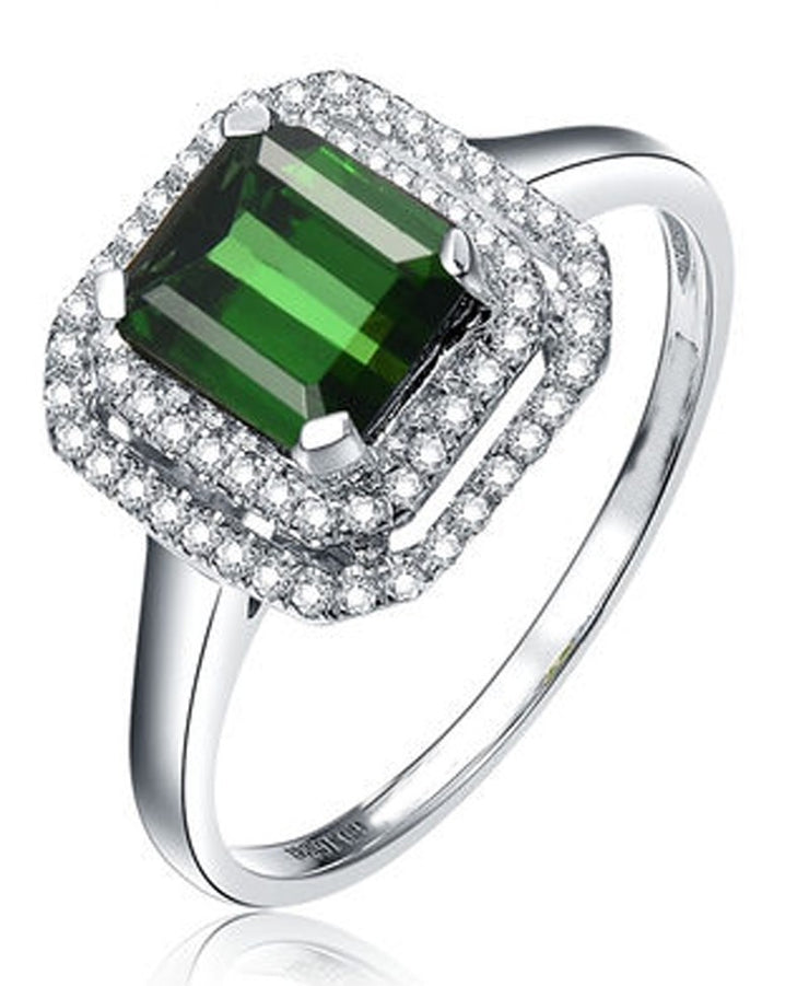 Perfect 1 Carat princess cut Emerald and Moissanite Diamond double Halo Engagement Ring in White Gold