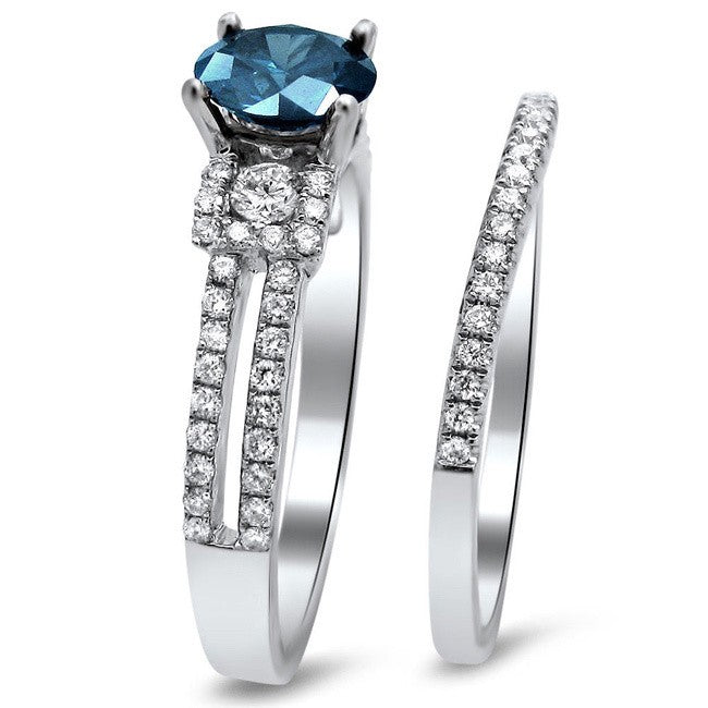 Perfect 1.50 Carat Sapphire and Moissanite Diamond Bridal Set for Women