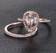 Perfect Bridal Set on Sale 1.50 carat Pear Cut Morganite and Diamond Bridal Set in Rose Gold Bestselling Design
