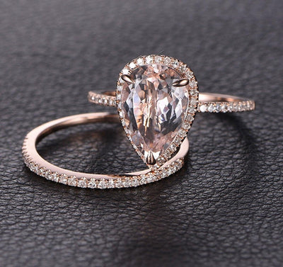 Perfect Bridal Set on Sale 1.50 carat Pear Cut Morganite and Diamond Bridal Set Bestselling Design