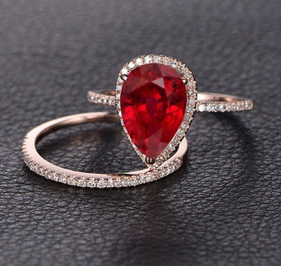 Perfect Bridal Set on Sale 1.50 carat Pear Cut Ruby and Moissanite Diamond Bridal Set in Rose Gold: Bestselling Design