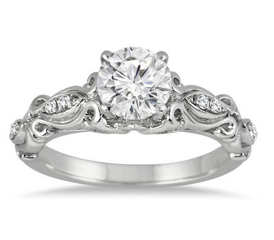 Antique Moissanite Wedding Ring 1.50 Carat Round Cut Moissanite Diamond on 10k White Gold