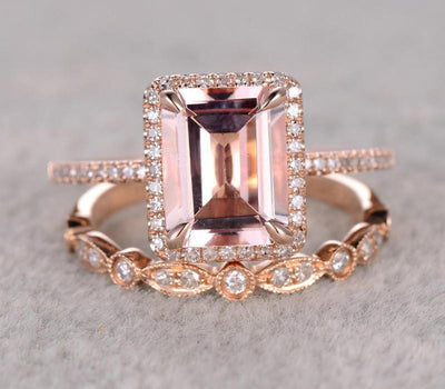1.50 carat emerald Cut Morganite Bridal Set with Diamonds in Rose Gold Perfect Halo Bridal Set on Sale