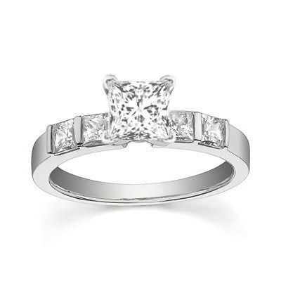 Perfect Wedding Bridal Ring Set Diamond Moissanite Ring 1.25 Carat on 10k White Gold