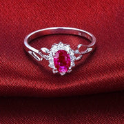 Classic Ruby Engagement Ring on 10k White Gold