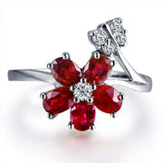 Ruby and Moissanite Engagement Ring on 10k White Gold